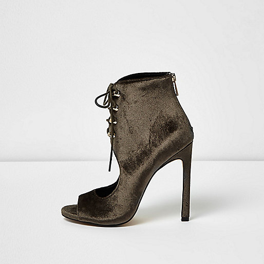 Brown velvet cut-out shoe boots