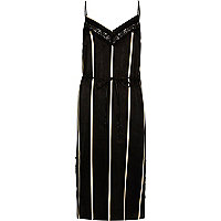 Black stripe lace panel slip dress