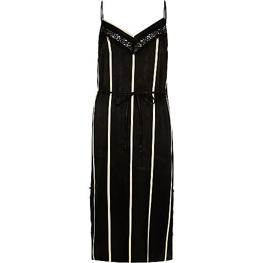 Black stripe lace panel slip dress