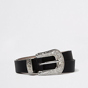 Black silver buckle western belt