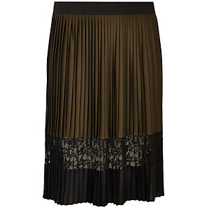 Plus khaki pleated lace panel midi skirt