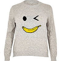 Plus grey knit banana man jumper