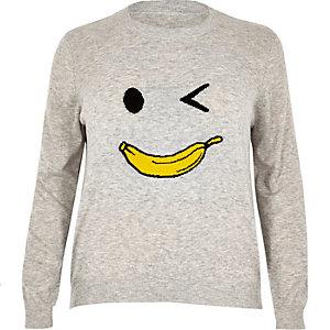 Plus grey knit banana man jumper
