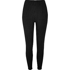 Schwarze Leggings mit hohem Bund und Nadelstreifen