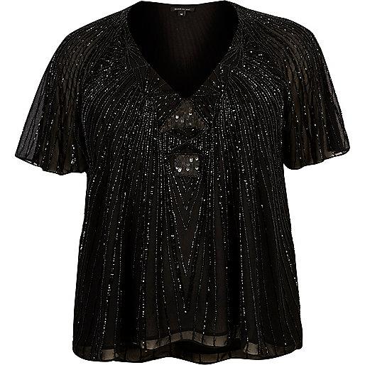T-shirt Plus noir avec ornements