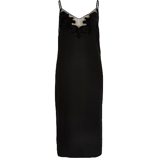 Black heatseal panel cami dress