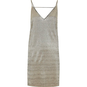 Gold metallic strap back cami dress