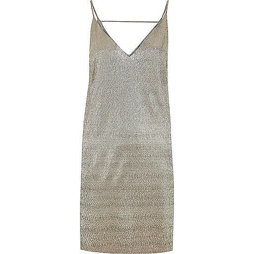 Gold metallic strap back cami dress