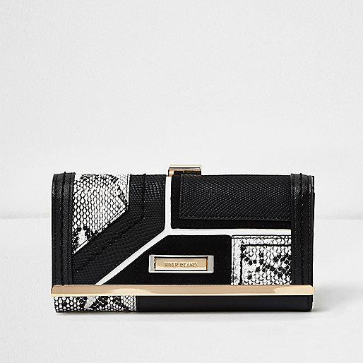 Black snake print panel clip top purse