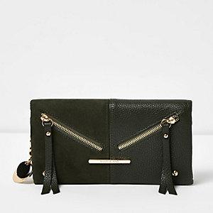 Khaki green panel foldover purse