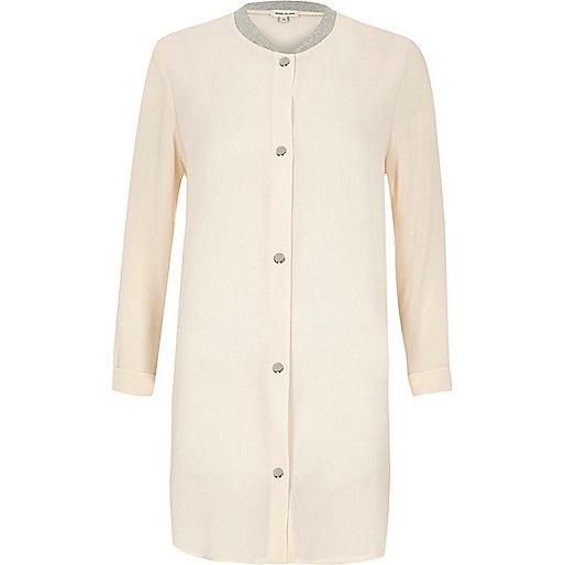 Cream lightweight duster bomber coat