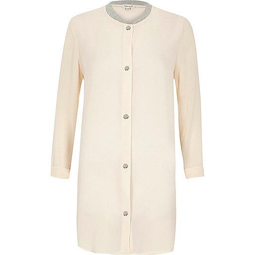 Cream lightweight duster bomber jacket