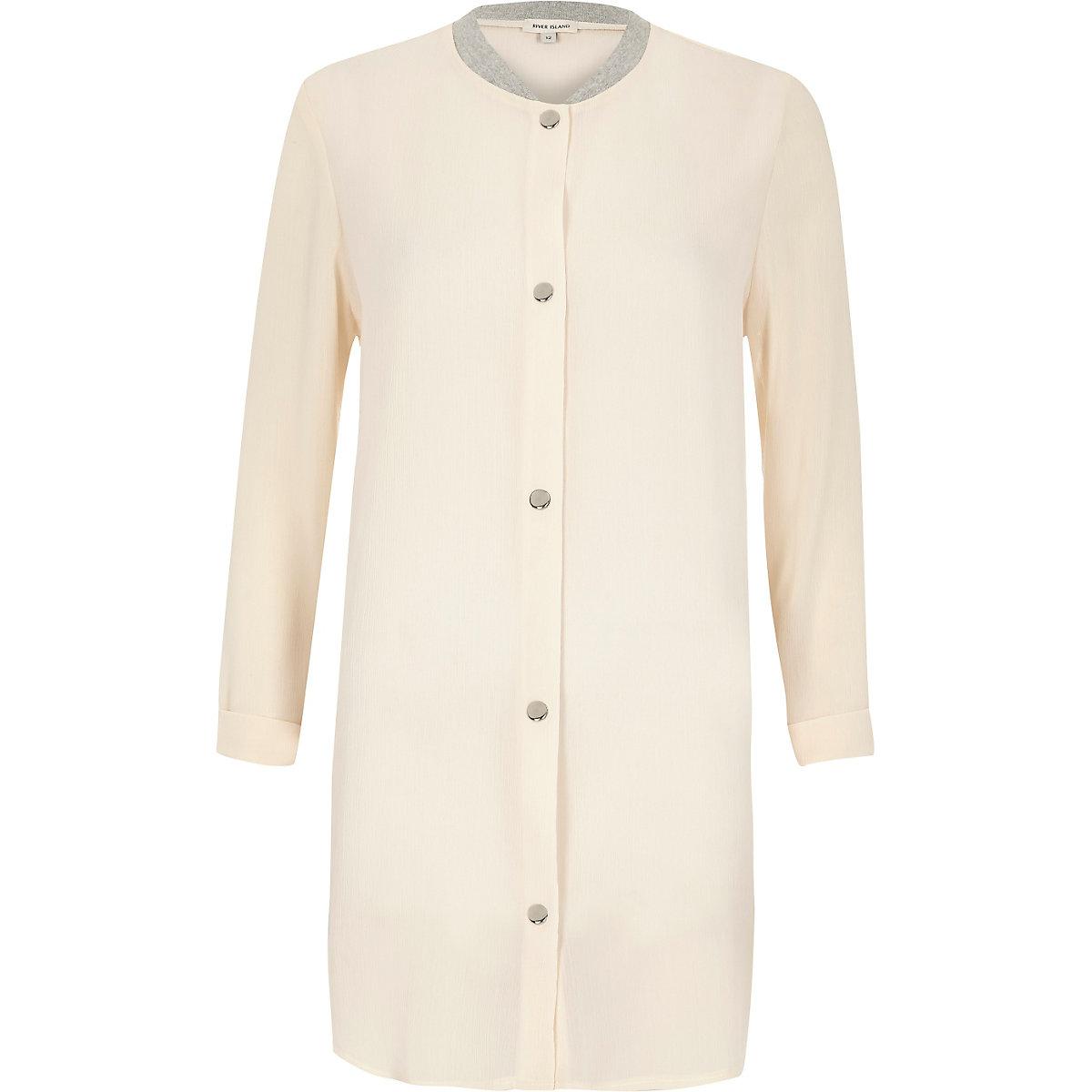 Cream lightweight duster bomber coat