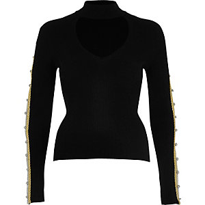 Black regal knot sleeve top