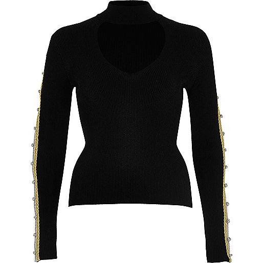 Black regal knot sleeve top