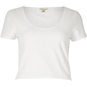 White scoop neck crop top