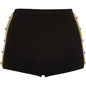 Black knit hot pants with gold twist detail