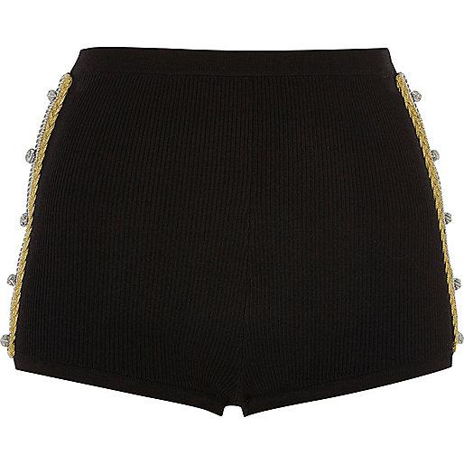 Mini short en maille noir avec détails torsadés dorés