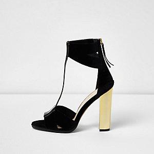 Black T-bar gold heel sandals
