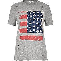 T-shirt imprimé drapeau gris clouté