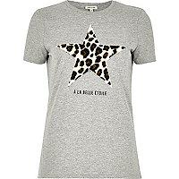 Grey leopard star print T-shirt