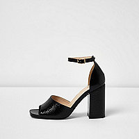 Black textured patent block heel sandals