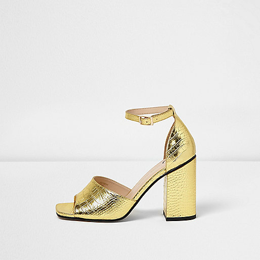 Gold textured block heel sandals