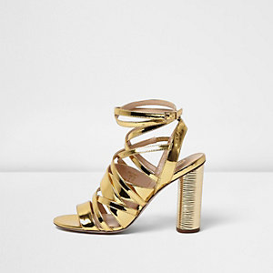 Patent gold strappy heeled sandals