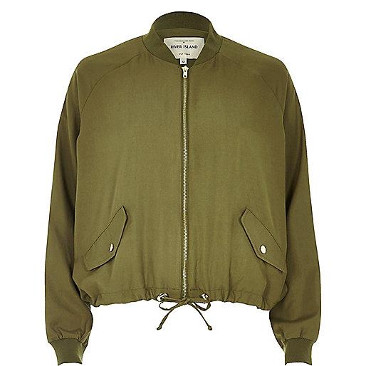 Khaki drawstring hem jacket