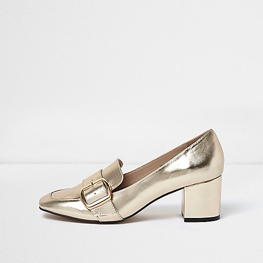 Gold buckle strappy heeled loafers
