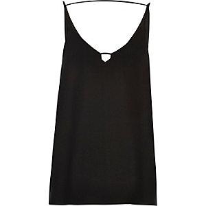 Black front bar cami top