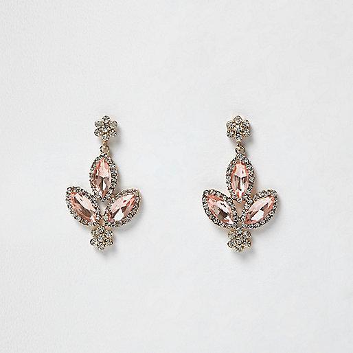 Gold tone pink gem dangly earrings