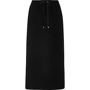 Black utility pocket midi skirt