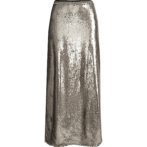 Silver sequin maxi skirt