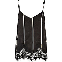 Black stripe lace hem cami top
