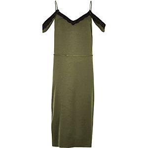 Khaki cold shoulder cami slip dress