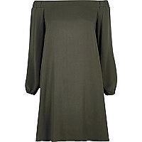 Khaki bardot swing dress