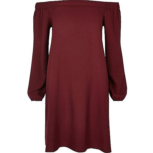 Burgundy bardot swing dress