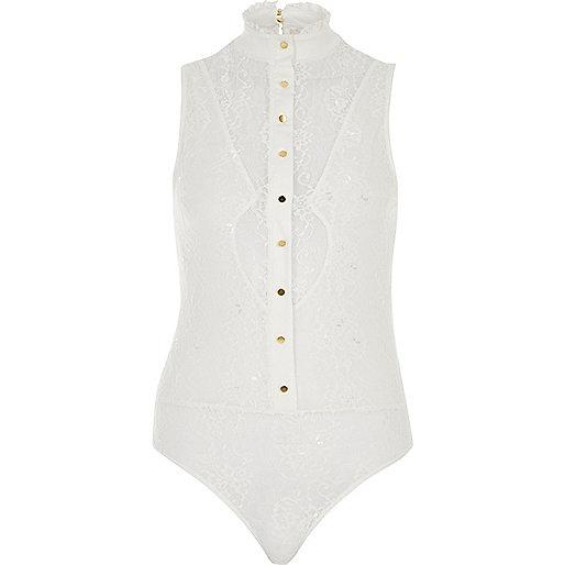 Cream lace frill high neck bodysuit
