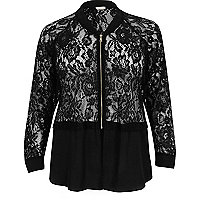 Plus black lace woven hem bomber jacket