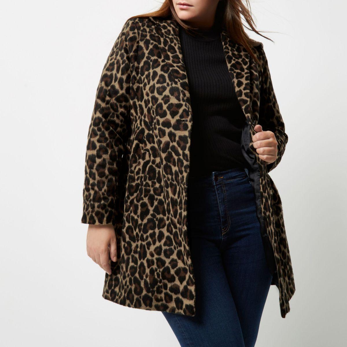Plus leopard print overcoat