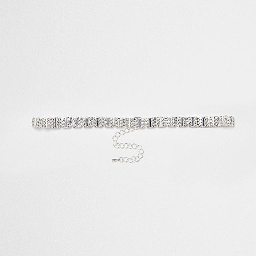 Collier ras-de-cou argenté à strass carrés