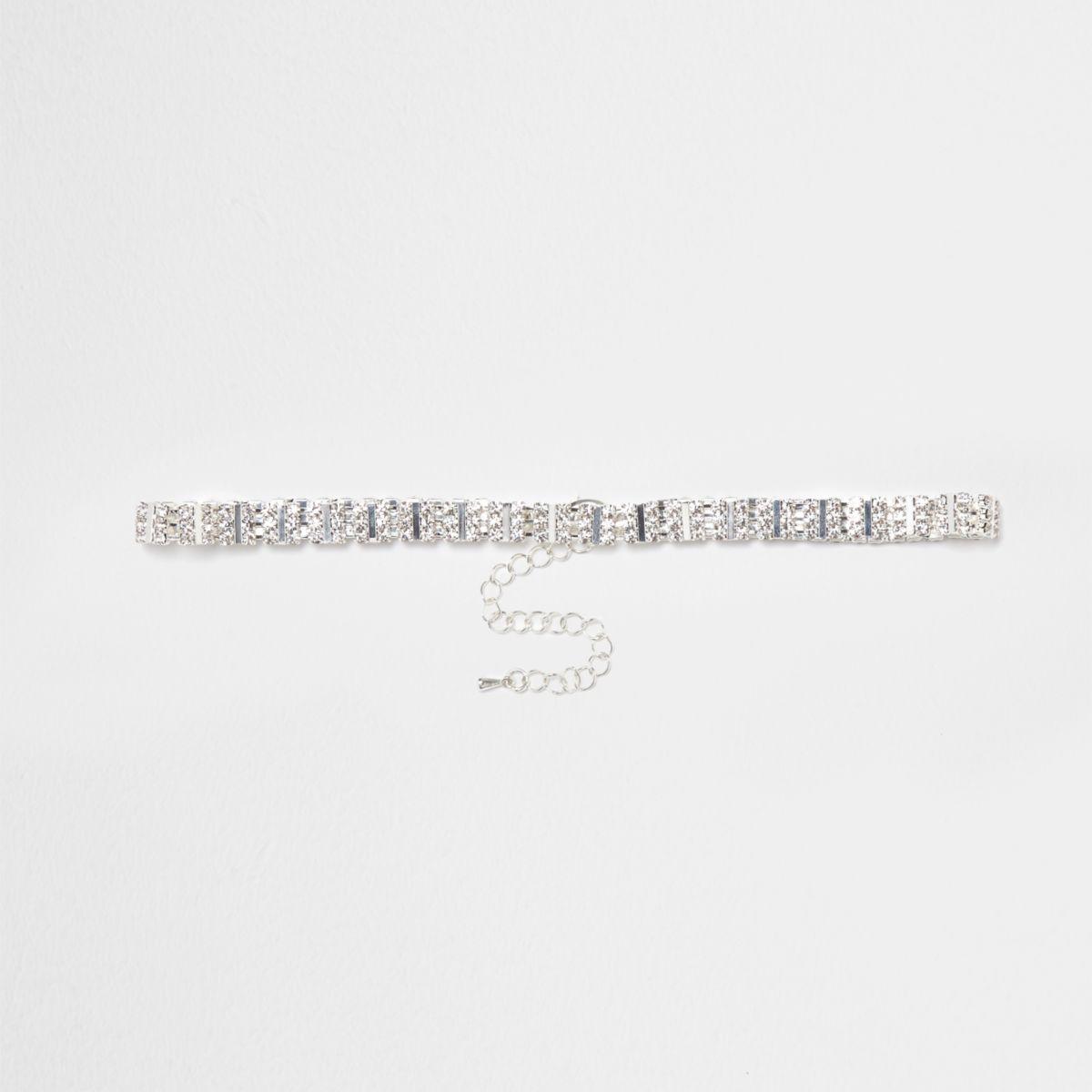 Silver tone square diamante choker
