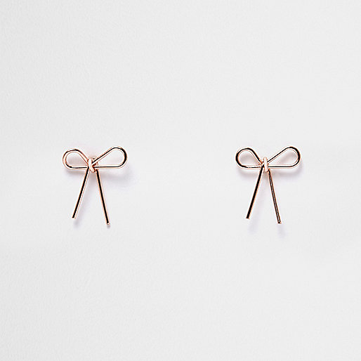 Rose gold tone bow earrings