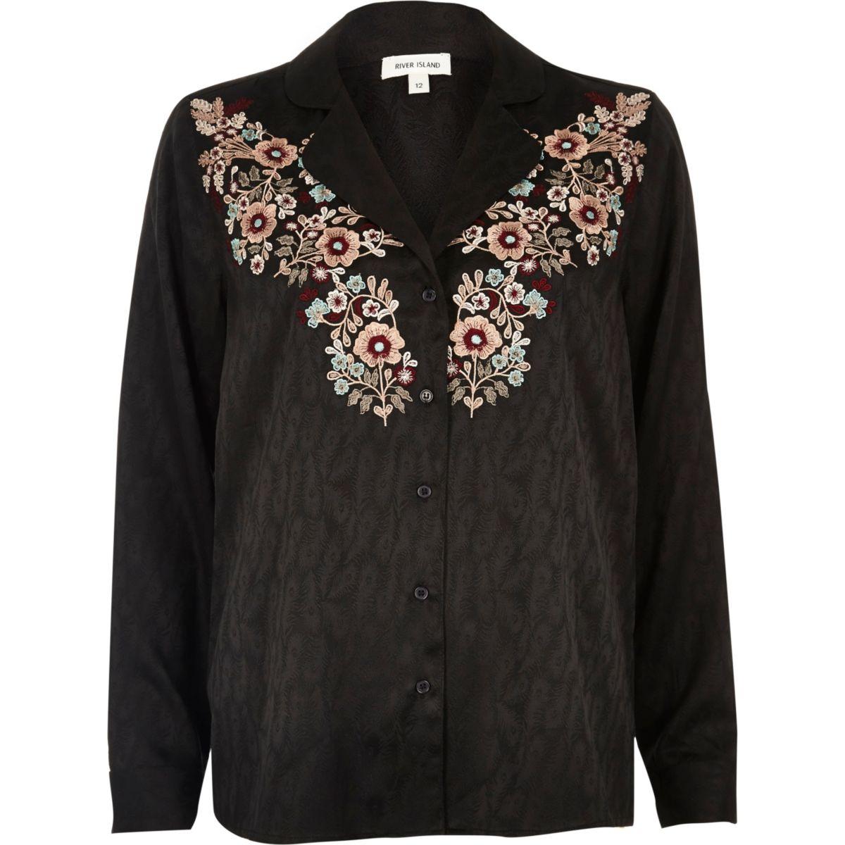 Schwarzes Jacquard-Hemd mit Blumenstickerei