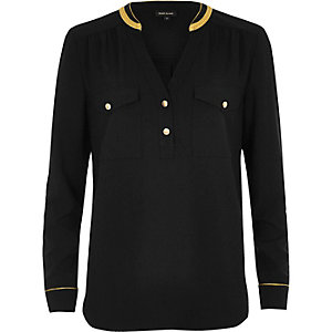 Black military shirt with gold trim