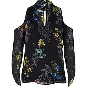 Floral cold shoulder choker blouse