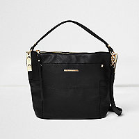 Black sports strap mini bucket bag