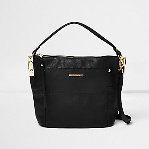 Black sports strap mini bucket bag