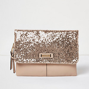 Rose gold sequin fold over clutch bag